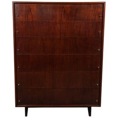 American Mid-Century Modern Walnut Tall Chest