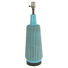 American Mid-Century Turquoise Porcelain Table Lamp
