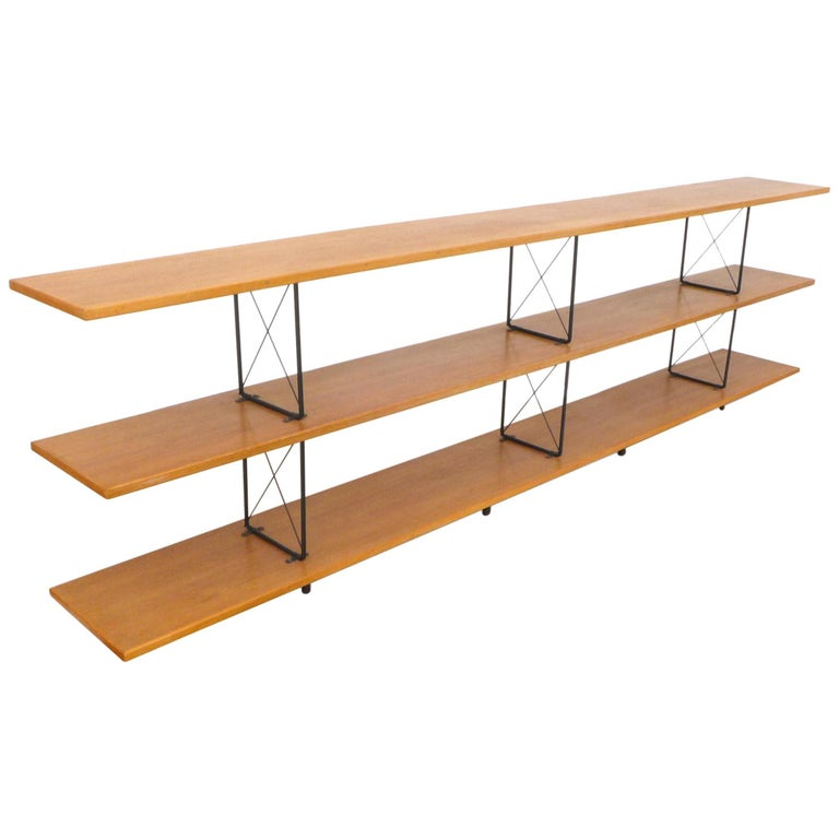 American Midcentury D.I.Y. Wood and Iron Shelving Unit For Sale