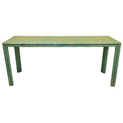 American Midcentury Green Painted Bamboo Style Console, circa 1960-1970