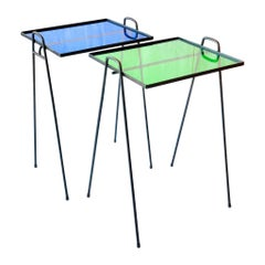 American Midcentury Pair of Side Patio Tables in Iron and Acrilyc Atomic Age