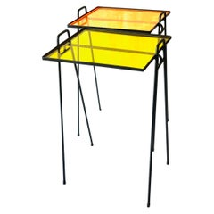 American Midcentury Pair of Side Patio Tables in Iron and Acrylic Atomic Age
