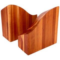 American Midcentury Pair of Solid Cherrywood Blocks Bookends