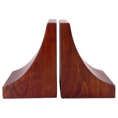 American Midcentury Pair of Solid Walnut Blocks Bookends