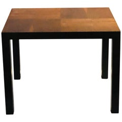 American Midcentury Walnut and Black Lacquer End Cocktail Table