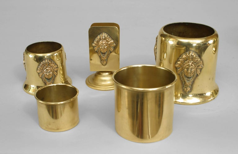 20th Century American Mission Brass Smoking Set For Sale