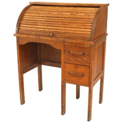 American Mission Oak Roll Top Desk and Matching Chair