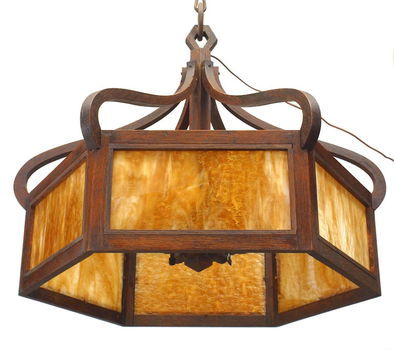 American Mission six-sided chandelier with stained oak framed 'caramel