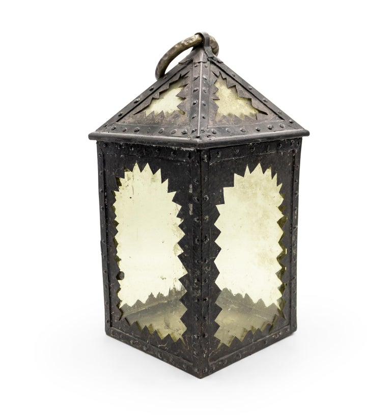 20th Century American Mission Style Wrought Iron Hand Lantern For Sale