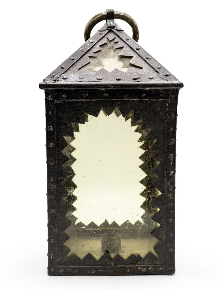 American Mission Style Wrought Iron Hand Lantern For Sale 1