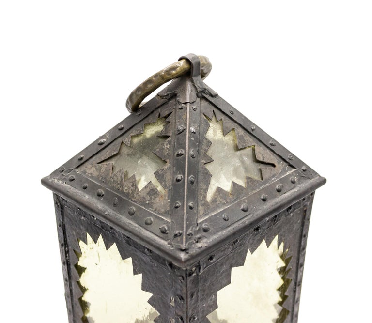 American Mission Style Wrought Iron Hand Lantern For Sale 3