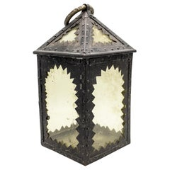 American Mission Style Wrought Iron Hand Lantern
