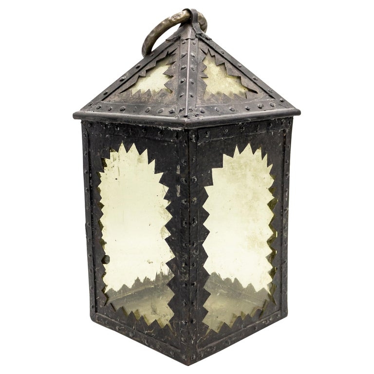 American Mission Style Wrought Iron Hand Lantern For Sale