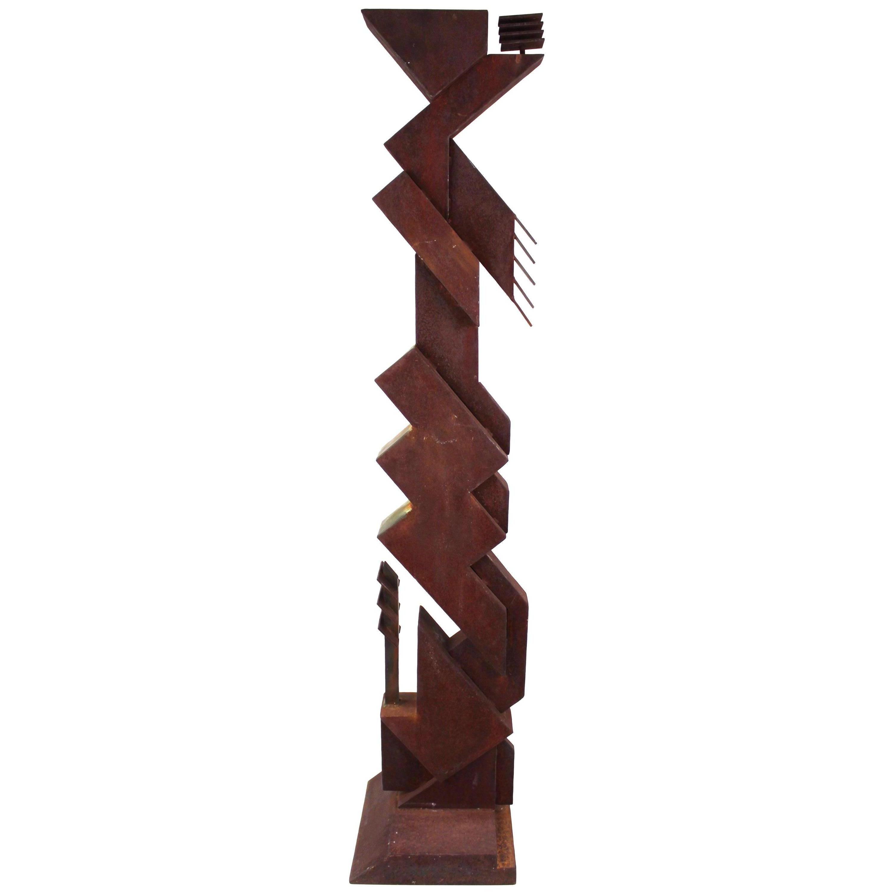 American Modern Abstract Brutalist TOTEM Sculpture