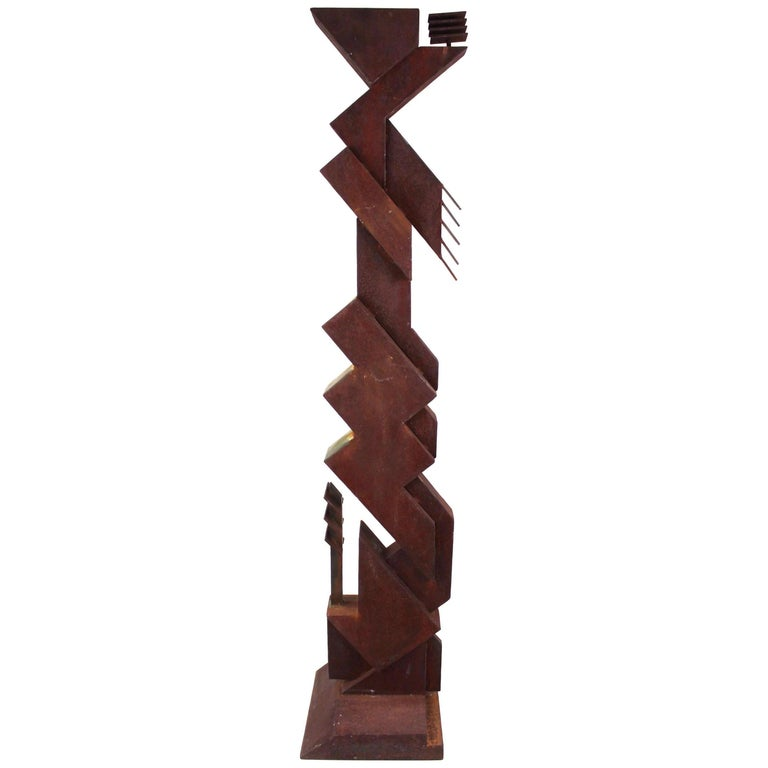 American Modern Abstract Brutalist TOTEM Sculpture For Sale