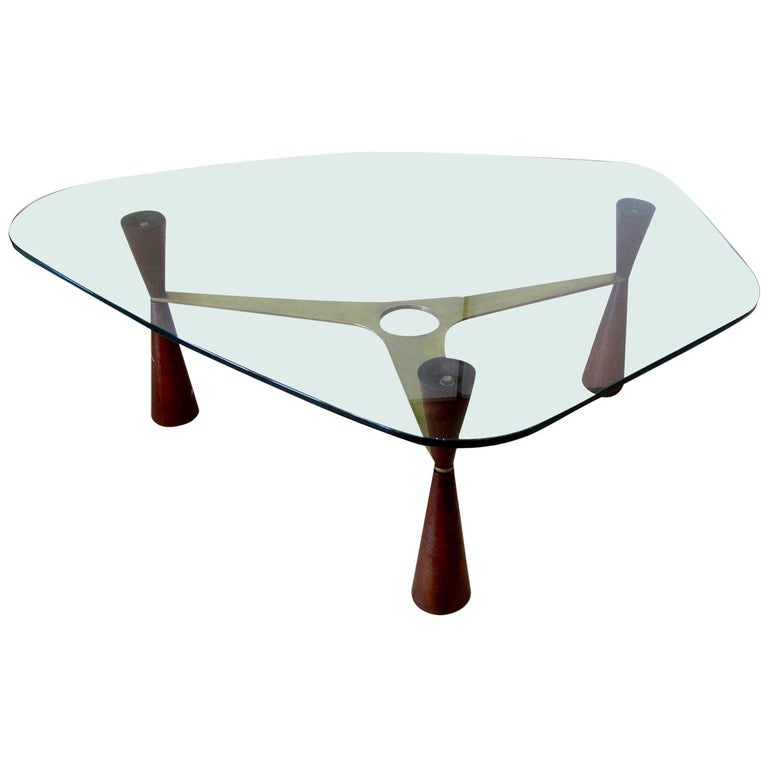 American Modern Brass /Wood/Glass Coffee Table, Edward Wormley for Dunbar For Sale
