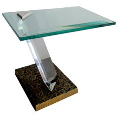 American Modern Bronze, Lucite and Glass Side Table, Jeffrey Bigelow