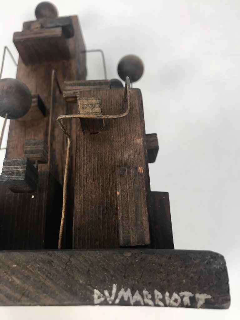 American Modern Constructivist Sculpture Wood and Metal, Folk Art For Sale 5