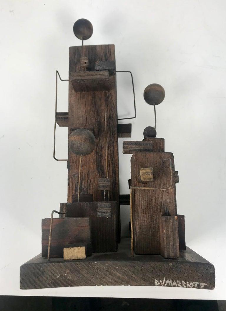 American Modern Constructivist Sculpture Wood and Metal, Folk Art For Sale 6