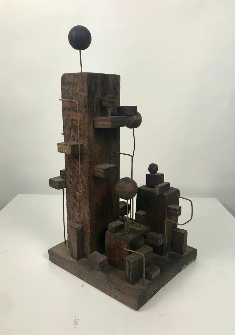 Unknown American Modern Constructivist Sculpture Wood and Metal, Folk Art For Sale