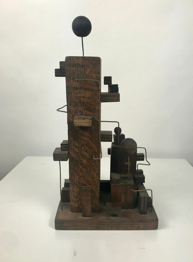 American Modern Constructivist Sculpture Wood and Metal, Folk Art In Distressed Condition For Sale In Buffalo, NY