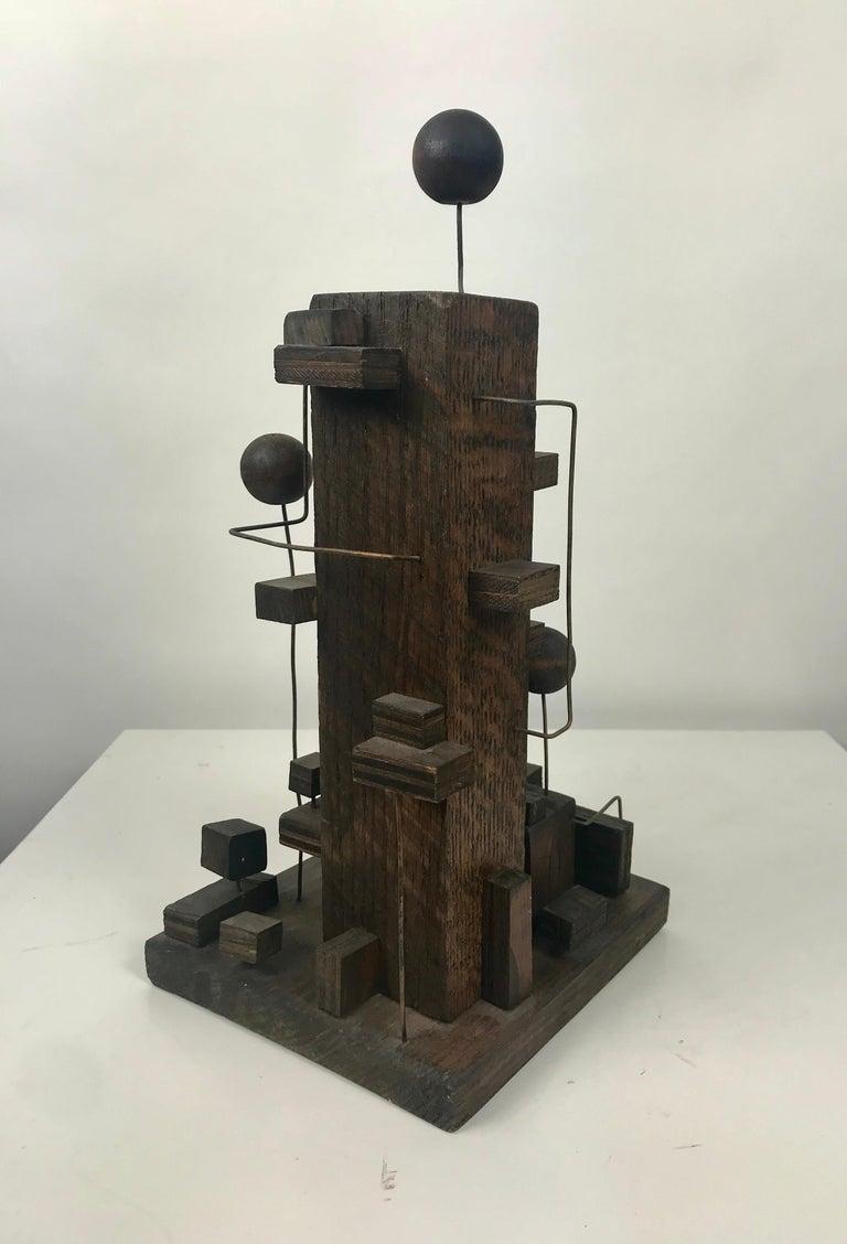20th Century American Modern Constructivist Sculpture Wood and Metal, Folk Art For Sale