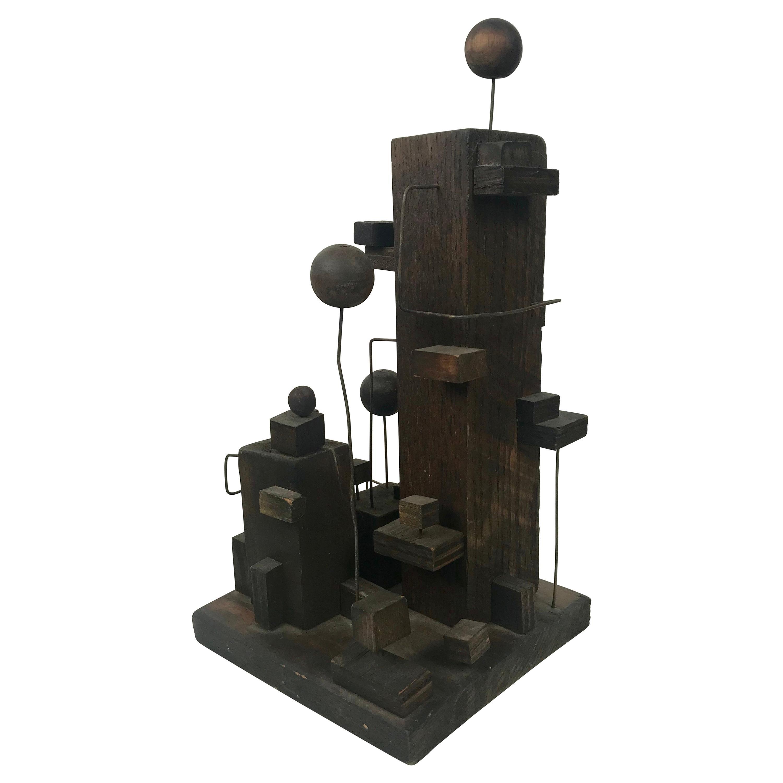 American Modern Constructivist Sculpture Wood and Metal, Folk Art