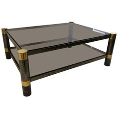 American Modern Gun Metal and Brass, Smoked Glass Coffee Table, Karl Springer