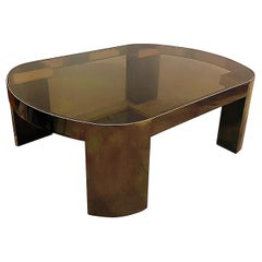 American Modern Gunmetal, Brass & Smoked Glass Banker Coffee Table Karl Springer
