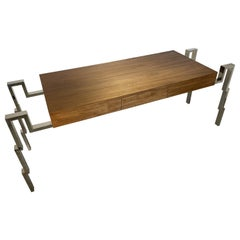 American Modern Polished Steel and Walnut Desk, Charles Hollis Jones