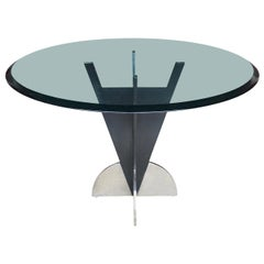 American Modern Steel Dining Table with Round Tinted Glass Top