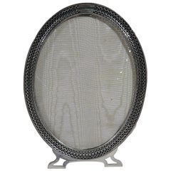 American Modern Sterling Silver Oval Picture Frame