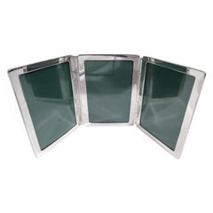 American Modern Sterling Silver Traveling Triple Picture Frame