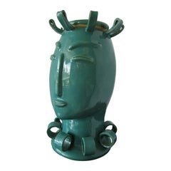American Modern Turquoise Glazed Ceramic Covered Vessel of a Stylized Lady Tozai