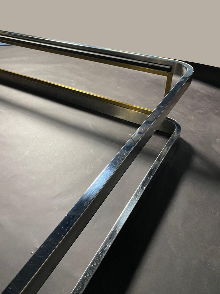 Late 20th Century American Modern Unique Chrome, Brass and Lucite King Size Bed, Karl Springer For Sale