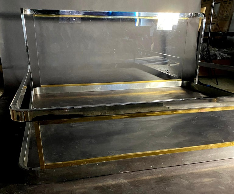 American Modern Unique Chrome, Brass and Lucite King Size Bed, Karl Springer For Sale 1