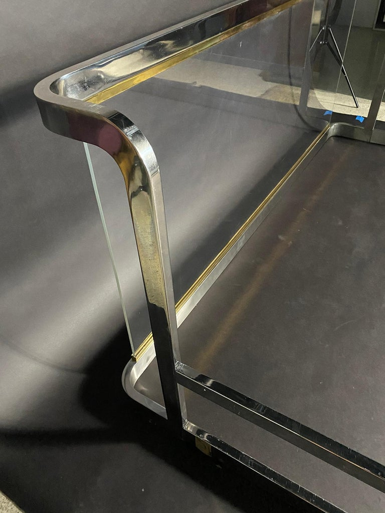 American Modern Unique Chrome, Brass and Lucite King Size Bed, Karl Springer For Sale 2