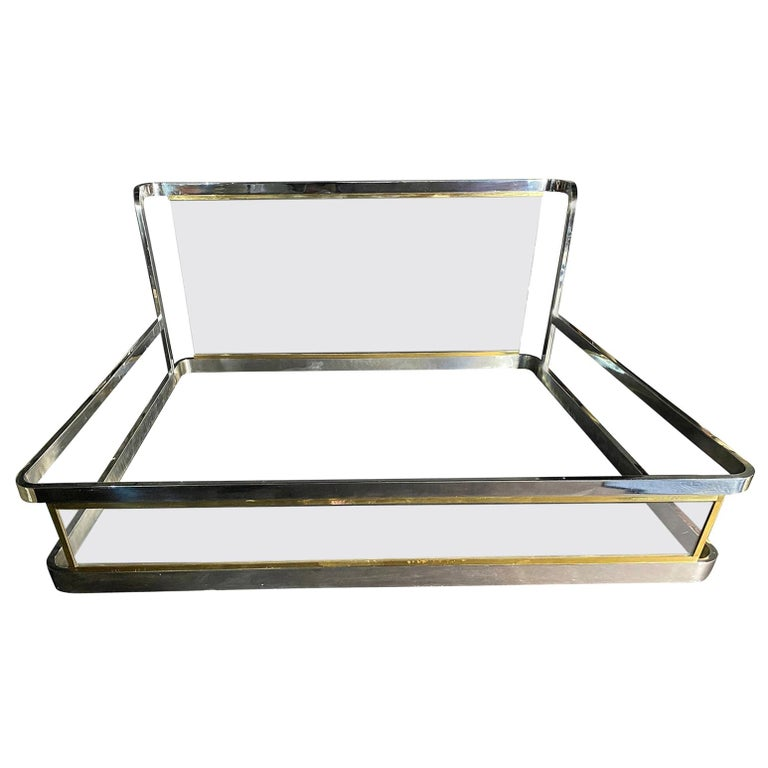 American Modern Unique Chrome, Brass and Lucite King Size Bed, Karl Springer For Sale