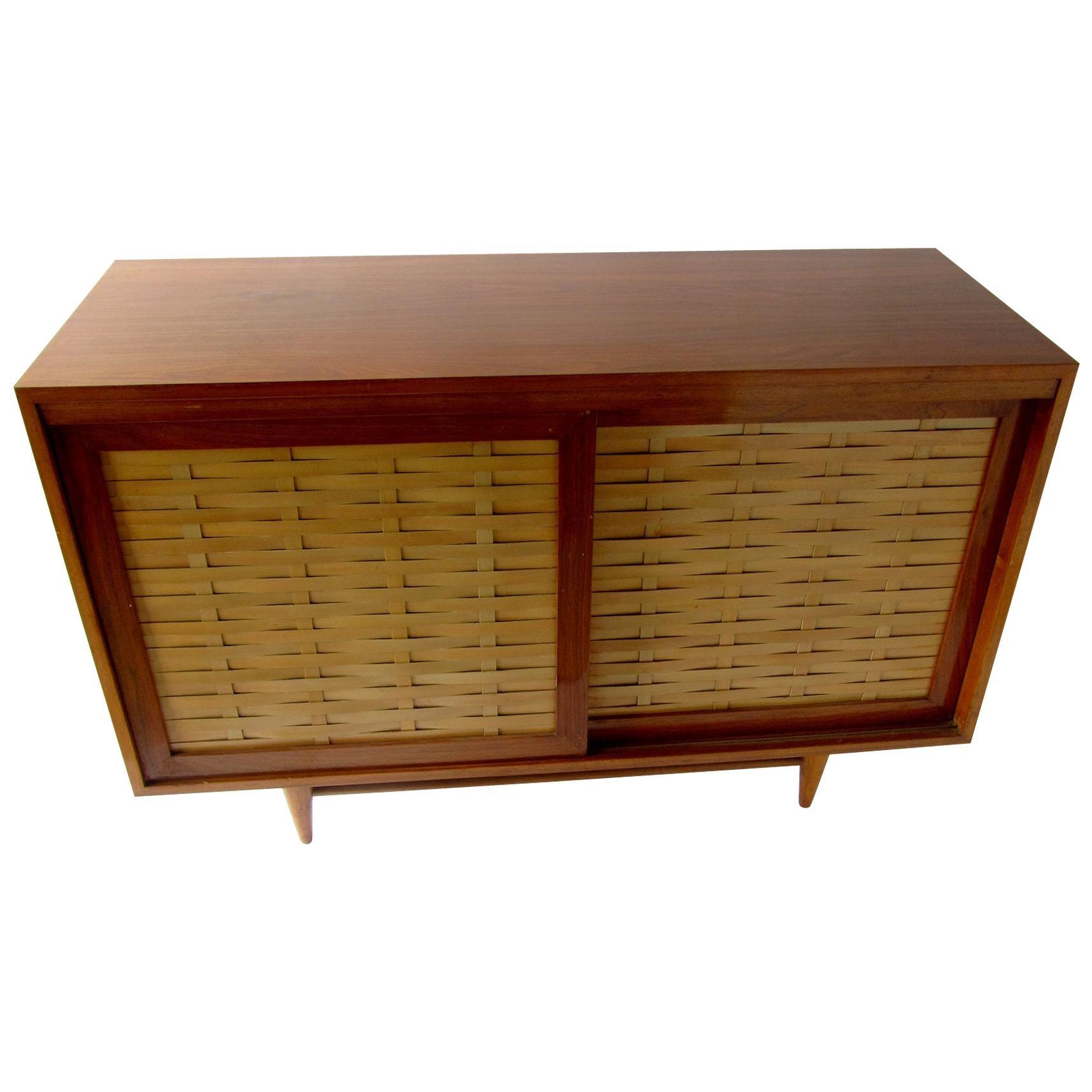 "American Modern Walnut and Birch 2-Door ""Woven Front"" Cabinet, Dunbar"