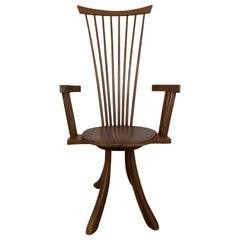 American Modern Walnut High Back Armchair, Jeffrey Greene
