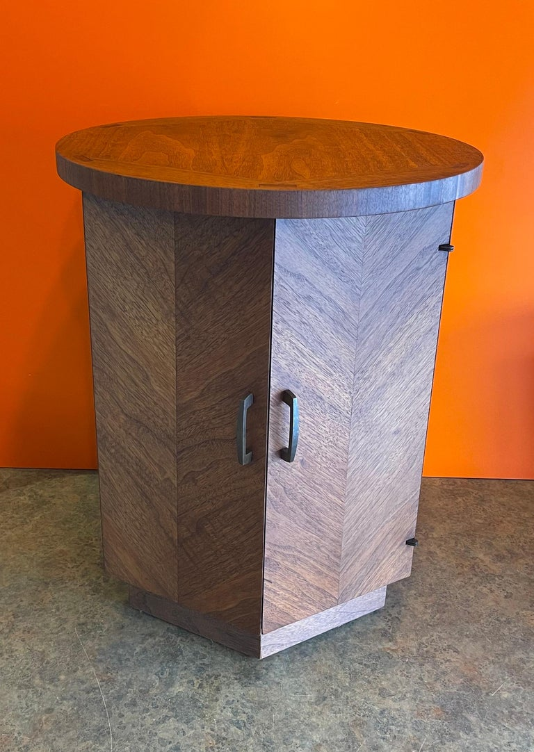 American modern walnut side table / cabinet from the