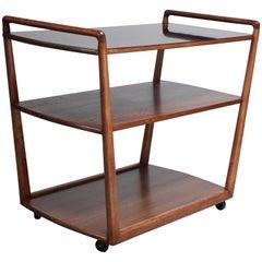 American Modern Walnut Three-Tier Rolling Bar / Tea Cart with Ebonized Surface