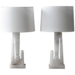 American Modernism, Abstract and Sculptural Table Lamps, Marble, Fabric, 1960s