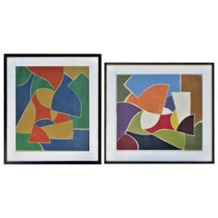 American Modernist Abstract Woodcut Prints, Artist Proofs, 1971