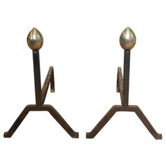 American Modernist Andirons in Steel and Iron