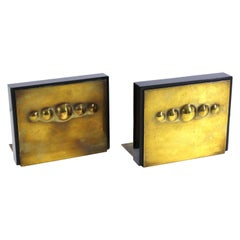 American Modernist Bookends in Solid Bakelite and Brass