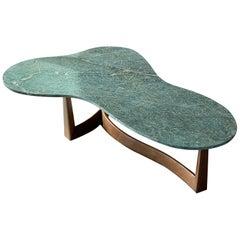 American Modernist Designer, Coffee Table, Green Marble, Walnut, 1950s, America