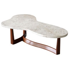 American Modernist Designer, Coffee Table, Marble, Walnut, 1950s, America