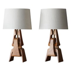 American Modernist Designer, Table Lamps, Oak, Brass, Fabric, America, 1950s