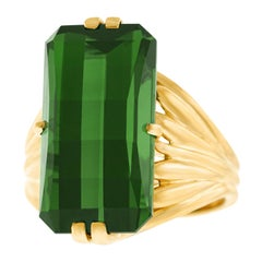 American Modernist Ring Set with 16 Carat Maine Tourmaline